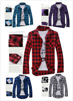 Men's Classic Fashion Casual Check Long Sleeve shirt with 5 Colors 003