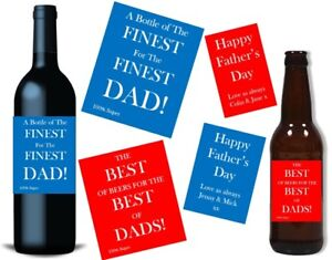 Fathers Day Gift Bottle Label FRONT & BACK Personalised Wine Beer Whisky Gin Rum