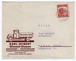 Germany 1935 Train Semi Postal - Truck Illustrated Advertising Cover -