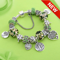 Tree of Life Charm Bracelet made with Antique Silver Color Heart Bangles