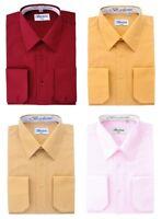 Berlioni Men's Regular Fit Standard or Convertible Cuffs Dress Shirts