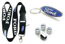 Ford Lanyard + Metal Keychain + Stem Valve Caps - Mustang Focus Edge F150 Escape