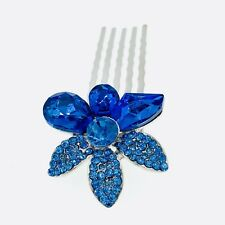 Small Flower Hair Comb Hairpin use Swarovski Crystal Bridal Wedding Blue 4-18