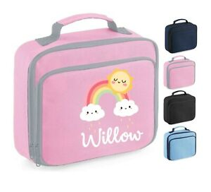 Personalised School Lunch Bag, Pink Rainbow Clouds Sun, Choice of Colour,102