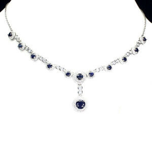 Round Sapphire Diffusion 7mm Cz White Gold Plate 925 Sterling Silver Necklace 19