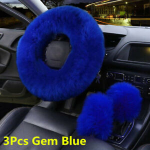 3Pcs Warm Fur Wool Fluffy Thick Car Steering Wheel Cover Gem Blue Accessories