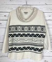 Lucky Brand Ivory Black Boho Embroidery Fall Sweatshirt Shirt Top Size M Medium