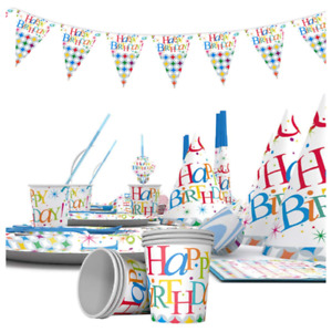 Happy Birthday Rainbow Multi colour Party Tableware Decorations Cups Table Cover