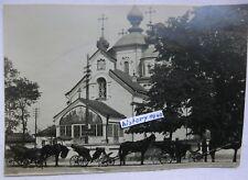 Foto AK: KOWEL - RUSSLAND mit Kirche - Kathedrale und Pferdekutschen im 1.WK (V)