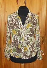 PER UNA ivory green brown floral chiffon long sleeve blouse shirt top 16 44 M&S