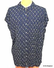 Chaps Denim Button Front Top Cap Sleeve 3X Blue White Crinkle Texture Abstract