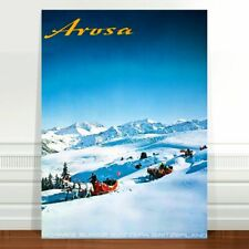 "Stunning Travel Poster Art CANVAS PRINT 8x10"" Arosa- Swiss Alps Sleds"
