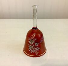 Ruby Glass 40th Anniversary Bell 5.5�H w Gold Trim Floral Euc Jeannette, Pa