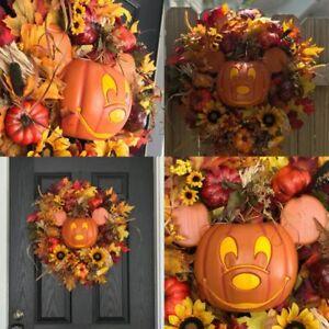 Mickey Mouse Halloween Wreath Orange Pumpkin Skeleton Black Disney Door Hanging