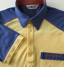 Gabicci Mens Polo Shirt Top Yellow Blue Retro Scooter Mod Casuals VINTAGE Medium