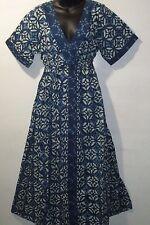 Dress Fit L XL Denim Blue Floral Stamp Art Long Empire Tiered Cotton NWT G006 FF