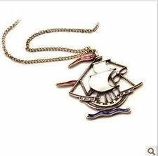 Antique Style Copper Tone Sailboat Pendant Chain Sweater Necklace/ US Seller!