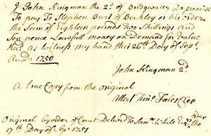1750 Mass Bay Col> PROMISSORY NOTE JOHN KINGMAN 2nd TO STEPHEN BURT OF BERKLEY