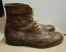 Superdry Brad Brogue Stamford Leather Jones Boots Shoes Tan Leather Premium
