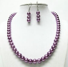 8mm Purple Glass Pearl Necklace and Earrings Set (SabrinaDesignJewelry )
