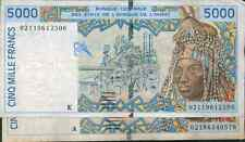WEST AFRICAN STATES LOT 2x 5000 FRANCS 2 DIFFERENT COUNTRIES. F-VF CONDITION g3y