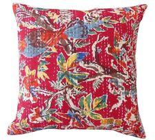 """Indian 16"""" Cotton Kantha Cushion Cover Home Decor Hippie Bohemian Pillow Sham"""