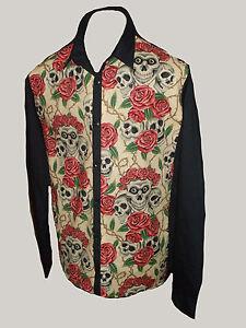 C-unique Mens Cream Skulls & Roses Tattoo L/S shirt rockabilly 50s Psychobilly