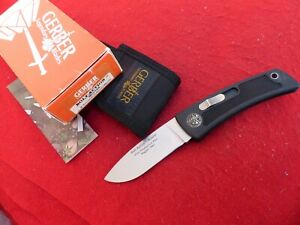"Gerber USA Made 1st Prod BOLT ACTION 4.25"" Side Lock Knife & Sheath mint in box"