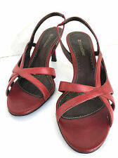 Naturalizer Burgundy Red Open Toe 3 Inch Prissy Leather High Heel Shoes 8M
