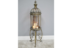Beautiful Large Bronzed Moroccan Rustic Lantern on Stand Heigh 115cm