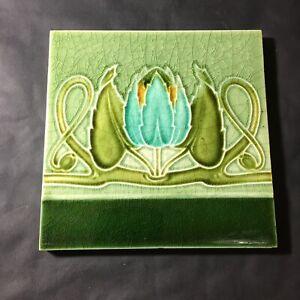 Original Relief Moulded Art Nouveau Majolica Tile Made In England