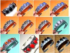 Wholesale Lots 12 Pcs Lapis,Coral,Onyx Mix Stone 925 Silver Plated Bangle Cuff