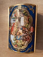 Wicklein Windup Tin Music Box Cookie Tin Blue Horses Country City Scene