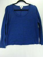 Women's Old Navy Top Size Medium Long Sleeve Scoop Blue Heathered Shirt ST8-36