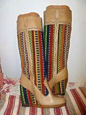 Vintage 60's Mod Leather platform wedge Go-Go Boots 6 1/2 hippy woodstock