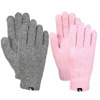 Trespass Manicure Womens Knitted Thinsulate Pink Grey Gloves for Winter