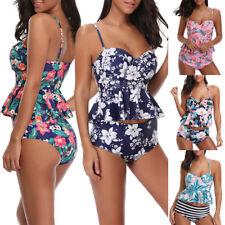Ladies High Waist Floral Printed Bikini Set Push Up Padded Bathing Suit Swimwear