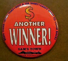 Large Pinback Button Sams Town Casino Kansas City Missouri (closed 1998)