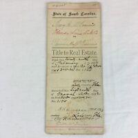 Real Estate Antique Title to Real Estate South Carolina 1892  Post Civil War