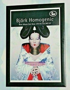 BJORK Framed A4 1997 `homogenic `ALBUM original band promo art poster