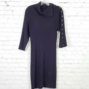 Cynthia Rowley Navy Blue Ribbed Button Neck Turtleneck Wool Sweater Dress Large