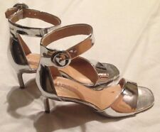 FRANCO SARTO Women's Open Toe High Heels Size 8.5M, Silver Ankle Strap, NEW