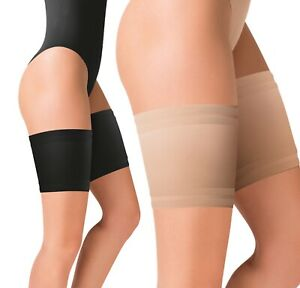 Anti Chafing Thigh Bands Black Beige Non Slip Stay Up Elastic Socks Plus Size