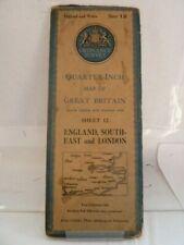 "ORDNANCE SURVEY 1/4"" MAP; SHEET 12 - ENGLAND, SOUTH-EAST & LONDON - CLOTH 1945"