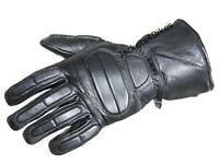 Motorcycle Biker Premium Leather Winter Thinsulate Full Gloves Black