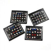 12Pair 6mm Crystal Rhinestone Magnet Ear Stud Earrings Magnetic Mens Women