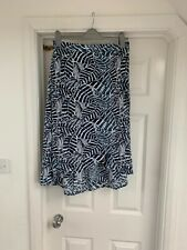 H&m Wrap Midi Skirt M 12 Dark Blue Palm Leaf Print ElasticAted Waist Jungle Prt