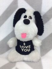 "Vintage 1979 Wallace Berry 7"" Plush Black White Puppy Dog Plush I Love You Shirt"