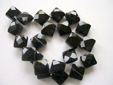 Black onyx faceted diamond beads 14x14mm