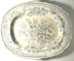 ASIATIC PHEASANTS Large Staffordshire Blue + White Transfer Platter